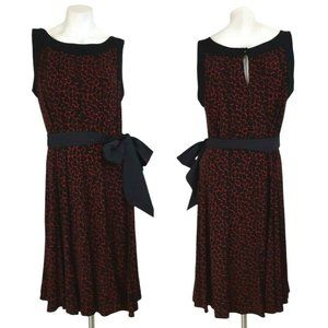 Glamour Geo Sleeveless A-Line Belted Swing Dress
